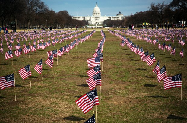 American Flags Memorialize Veteran Suicides